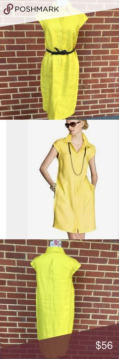 JONES NEW YORK SIGNATURE COLLECTION dress Sunshine yellow! Gorgeous collection dress- ( does not include belt but this one can be purchased in my closet- used to show versatility of dress)- buttons down the front- NWT!!!! My mannequin is a size 4-6 for reference Jones New York Dresses