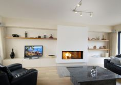 Fireplace Feature Wall, Living Room With Fireplace, Fireplace Design, New Living Room, Home And Living, Alcove Storage Living Room, Built In Electric Fireplace, Muebles Living, Front Rooms