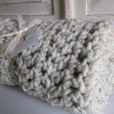 Oatmeal chunky wool blend blanket