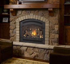 arched fireplace with keystone