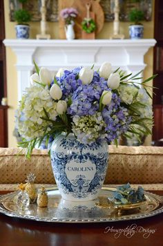 Carolina Delft Tobacco Jar – Floral Friday - Beautiful arrangment of Hydrangeas and Tulips with a few sprigs of Eucalyptus in Carolina Delft Blu - Beautiful Flower Arrangements, Floral Arrangements, Beautiful Flowers, Centerpieces, Table Decorations, White Centerpiece, Vases Decor, Blue And White China, Ginger Jars