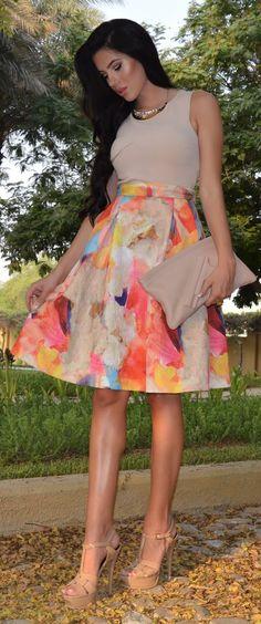 Laura Badura Rainbow Eye Catching Print Midi Skirt