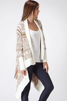 Diamond Knit Soft White and Caramels, Comfy Open Front Seater with soft cascading Layers!