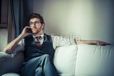 elegant attractive fashion hipster man on the phone BUY IT FROM $1