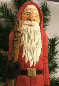 Hand Carved Old World Santa with Wood Spirit by ClaudesWoodcarving, $60.00