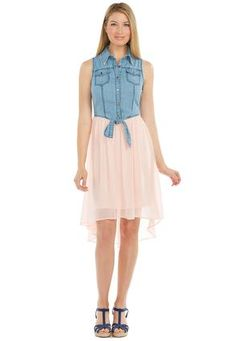 #CatoSummerStyle Cato Fashions Denim and Chiffon Tie Front Dress #CatoFashions