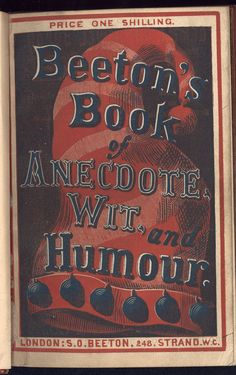 Beeton's Book of Anecdote. 1865. Upper cover recto. The British Library copy is at shelf mark 12316d17