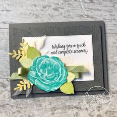 "We are in love with this ""distinktive""rose in Healing Hugs from page Stamp it in any vivid color with the coordinating leaves and add… Healing Hugs, Cards For Friends, Friend Cards, Beautiful Handmade Cards, Stamping Up Cards, Get Well Cards, Card Making Inspiration, Card Sketches, Sympathy Cards"