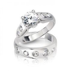Sterling Silver Cubic Zirconia Round Cut Engagement Wedding Ring Set 2ct