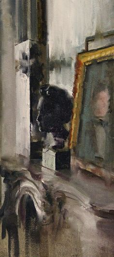 "(I like how the fireplace fades out) __ Fanny Nushka Moreaux; Oil 2014 Painting ""Study for Intérieur Collectionneur IV, 2014"""