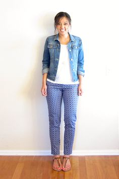 cute outfit idea for printed ankle pants