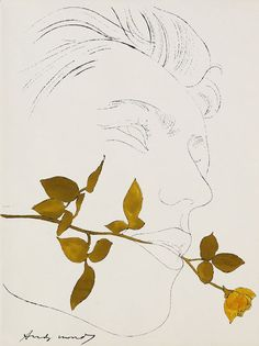 Untitled (Man with Rose in Mouth), 1957 Offset lithograph and watercolor.  Feldman/Schellmann/Defendi IV.108. Signed. One of 100 copies. On machine laid paper 35 x 27 cm ( 13,7 x 10,6 in), size of sheet. Plate 3, from 'A Gold Book' from 1957. [RS] (kettererkunst.com)  Andy Warhol