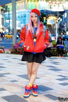 Eva Cheung in Harajuku w/ Pink-Blue Hair, Dee & Ricky Sneakers & Michael Jackson Eva Cheung in Harajuku – Tokyo Fashion News