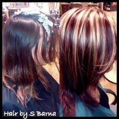Blonde highlights on burgundy hair my hair styles i like hair by barnater is bright blonde highlights with high def red violet all over like this red violet color pmusecretfo Gallery