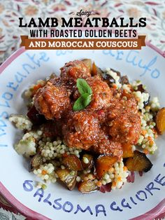 Spicy Lamb Meatballs with Roasted Golden Beets and Moroccan Couscous