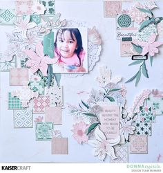 Kaisercraft Lily & Moss – Donna Espiritu - KAISERCRAFT WORKSHOP Scrapbooking Layouts, Scrapbook Pages, Baby Girl Scrapbook, Paper Doilies, Image Layout, Movie Rooms, Tv Rooms, Game Rooms, Projects To Try