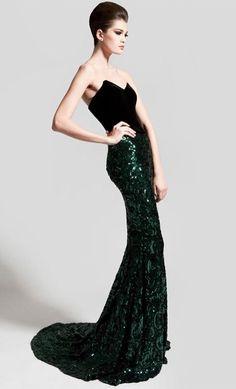Nadine Zeni black and green dress