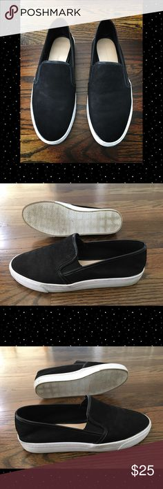 🆕 Black Banana Republic Brenna Slip On Sneakers These are casual, comfortable shoes for any season! Real, soft leather upper in a slip on design. These shoes are relatively unworn. Slightly stained on the white rubber and the shoes are a bit faded on the tops. Let me know if you have any questions! Banana Republic Shoes Sneakers