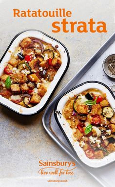 This meat-free ratatouille is hearty and delicious. Topped with bubbling golden cheese, you won't be able to resist. Savoury Recipes, Veggie Recipes, Healthy Recipes, Veggie Plate, Veggie Dishes, Noodles And More, Strata Recipes, Veggie Noodles, Sainsburys