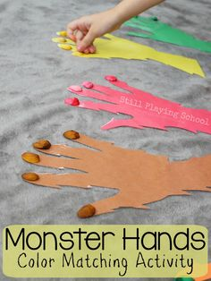 Monster Hands Color Matching Activity for Kids. #Halloween #prek (repinned by Super Simple Songs)