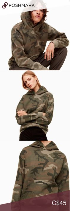 Spotted while shopping on Poshmark: Aritzia TNA The Perfect Hoodie - Camo XL! Comfy Hoodies, Sweatshirts, Plus Fashion, Fashion Tips, Fashion Trends, Green And Brown, Military Jacket, Camo, Feels