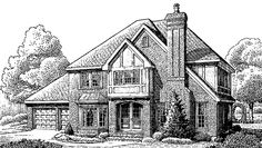 Home Plans HOMEPW11657 - 2,572 Square Feet, 4 Bedroom 2 Bathroom Tudor Home with 2 Garage Bays