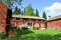An old farmhouse. //home Swedish Farmhouse, Swedish Cottage, Interior Garden, Interior And Exterior, This Old House, Sweden House, Red Houses, Hiding Places, Swedish Design