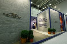 """Barbebleue"" booth at Cersaie exhibition in Bologna, Italy is a stand designed and conceived by Francesco Catalano for Novoceram whose inspiration was the french fairytale of Bluebeard #tradeshow #stand #exhibitiondesign #interiordesign - More wonders at www.francescocatalano.it"