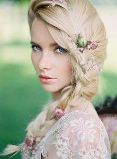 Beautiful boho bridal braid: http://www.stylemepretty.com/little-black-book-blog/2014/11/07/provencal-bohemian-garden-wedding-inspiration/ | Photography: Greg Finck - http://www.gregfinck.com/