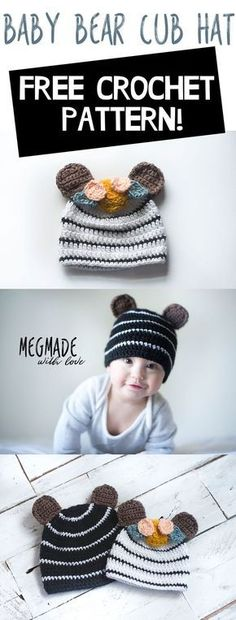 Free Crochet Pattern for a Baby Bear Cub Hat — Megmade with Love