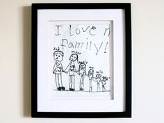 Great room decor: art created by your little ones. Pictured is a family portrait drawn by the daughter of aden + anais CEO Raegan Moya-Jones.