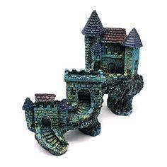 Dimart Super Magical Simulation European Villas Castle Aquarium Ornament Fish Tank Decorations Blue Dimart
