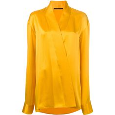 Haider Ackermann wrap effect shirt ($719) ❤ liked on Polyvore featuring tops, yellow, wrap tops, silk shirt, yellow shirt, silk wrap top and wrap around shirt top