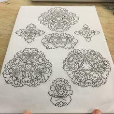 Variations on a theme. All up for grab and I am super keen on tattooing those. #mandala #geometricflower #geometric #sacredgeometry #symmetry #mirror #tattoo #tattoos #ttt #flash #peonies #rose #chrysanthemum #floral #ornemental #ornamental #european #traditional #europeantraditional #sangbleu #sangbleulondon #london #dalston  #londontattoo  #vegan