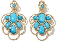 Rarities: Fine Jewelry with Carol Brodie Kingman Turquoise and White Zircon Vermeil Drop Earrings