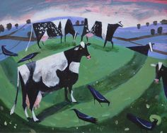-Crows and Cows- 31x25cms acrylic on board - Mary Sumner