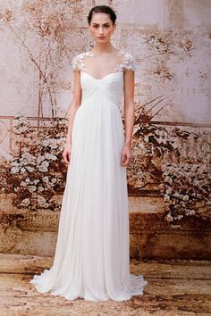 Best bridal looks from Fall 2014: Monique Lhuillier empire waist wedding dress