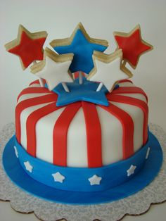 Fourth of July Cookie Pop cake  www.simplycakesbyalison.com