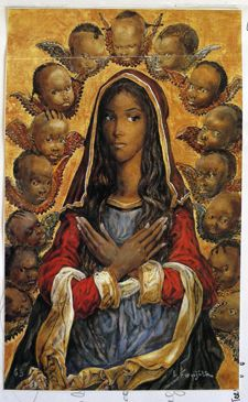 Madonna art by Tsuguharu Foujita Madonna Art, Madonna And Child, Divine Mother, Mother Mary, Religious Icons, Religious Art, African American Art, African Art, Arte Black