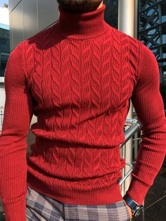 GentWith Marina Red Slim Fit Turtleneck Sweater - Gent With Flannel Fashion, Mens Fashion, Mens Casual Suits, Turtleneck Outfit, Man Dressing Style, Mens Flannel, Gentleman Style, Dapper Gentleman, Mens Clothing Styles
