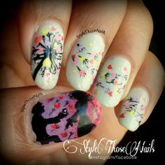 Hearts and Dandelions Romantic Nails by Anita