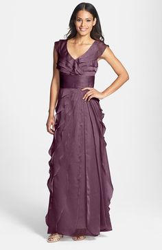 Free shipping and returns on Adrianna Papell Tiered Chiffon Gown (Regular & Petite) at Nordstrom.com. Fluttery layers sculpt the faux surplice bodice of an ethereal dress, while a shutter-pleated waistband tops the cascading swirl of chiffon that forms the layered floor-length skirt.