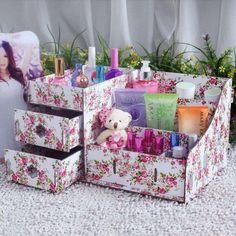 boîte de rangement de maquillage en papier