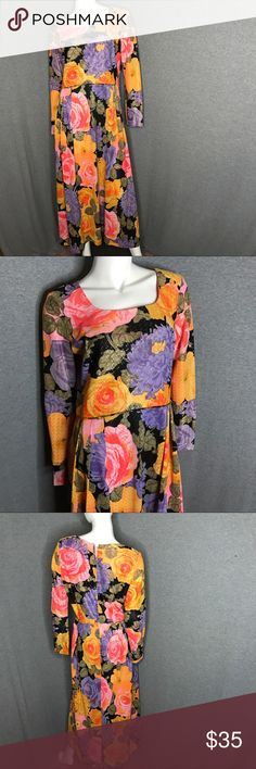 VINTAGE Metallic Floral Dress VINTAGE Metallic Floral Dress Vintage Dresses Maxi