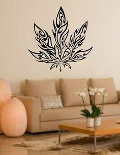 Car Decal Pot Weed Marijuana Flames Wall Art Sticker Bedroom Den TV Room 18 Inch