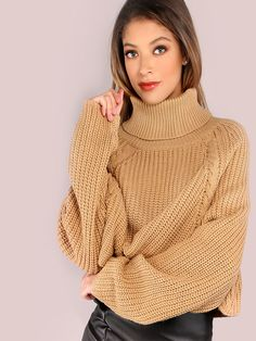 Online shopping for Turtleneck Waffle Knit Crop Sweater CARAMEL from a great selection of women's fashion clothing & more at MakeMeChic.COM.