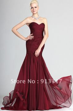 Charming Burgundy Formal Evening Gowns, Fully Pleated Trumpet / Mermaid Sweetheart Plus Size Evening Dress (2-26W) $124.36