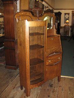 Lovely Early 1900s Antique Oak Secretary W Drop Leaf Desk