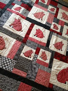 Red, Black, and White Arkansas Razorback Pig Quilt