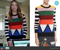 Liza's multi colored striped sweater on Younger. Outfit Details: https://wornontv.net/55531/ #Younger